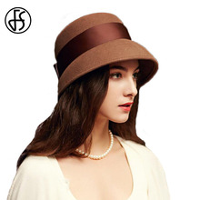 FS 2017 Autumn Winter 100% Wool Wide Brim Vintage Fedora Hats Black Brown For Women Elegant Bowknot Felt Cloche Hats(China)