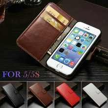 Vintage Wallet PU Leather Phone Cases for iPhone 5 5S Case iPhone 5 SE Luxury Cover 5 Color(China)