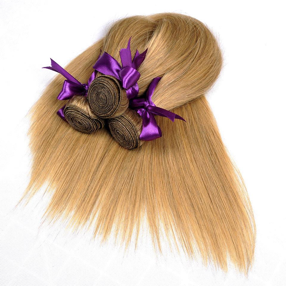 honey blonde Brazilian straight hair Weave bundles color 27 100% human hair extensions (15)