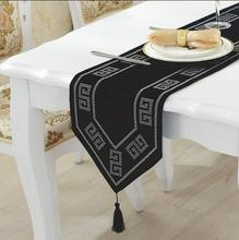 Vinatge style black table runner with plastic diamond home hotel wedding decorative chinlon table cloth free shipping