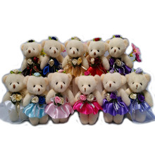 50PCS/LOT 12CM mini model PP cotton kid plush toys doll bear flower bouquets accessory material teddy bear dolls(China)