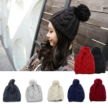 New Hot Fashion Winter Warm Women Men Knit Beanie Ball Cuff Wool Hat Ski Cap