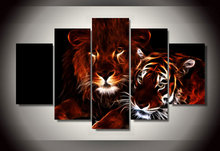 Framed Printed glowing lion and tiger poster 5 pieces Group Painting room decor print poster picture canvas Free shipping/jjv821