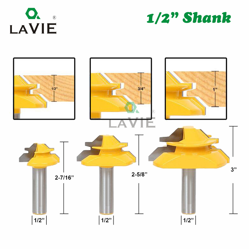 3Pcs 1//4 Inch Shank Wood Router Bits Lock Miter End Milling Cutter Joint Tool