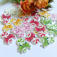 30pcs Christmas gift Wood Button Wholesale Children's Clothes Button Accessories Handmade Art Clothing Accessory(China)