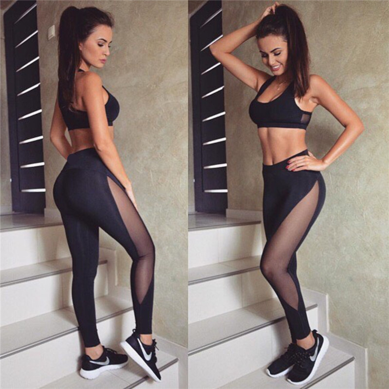 Black Net Yarn Patchwork Tracksuit Crop Top And Leggings 3