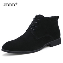2017 New Winter Men Boots High Quality Genuine Leather Men Ankle Boots With Fur British Style Solid Lace-up Men Motorcycle Boots