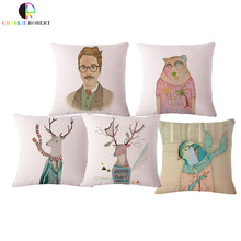 45*45cm Linen Nordic Mr Deer Office Snap Cushion With No filling Sofa Chair Seat Back Throw Pillow Car Coffee Animal Emoji HH957(China)
