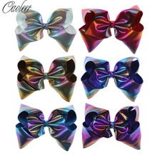 7 Inch Large Leather Hair Bow Laser Colorful Hairbows Hairclip Boutique Handmade Hair Accessories For Kids
