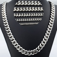 Davieslee 3/5/7/9/11mm Mens Curb Chain Silver Tone Stainless Steel Necklace Chain High Quality Fashion Jewelry DLKNM07