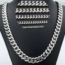 Davieslee Mens Chain Silver Color Stainless Steel Curb Necklace Hip Hop Fashion Jewelry 3/5/7/9/11mm DLKNM07 - Franchised Store store