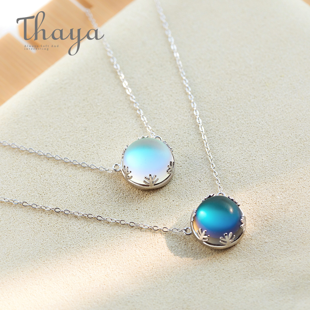 Thaya Pendant Necklace Jewelry Scale Light Halo Crystal Gemstone Silver Elegant Aurora title=
