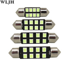 WLJH 6pcs Car Led Light 31mm 36mm 39mm 41mm 2835 SMD C5W C10W Auto Lamp Bulb Interior Lights External Lights Pure White Ice Blue(China)