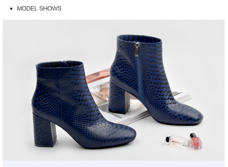 Donna-in 2017 new style ankle boots sexy snake leather women boots retro square toe thick high heel autumn boots 15325-19 (2)