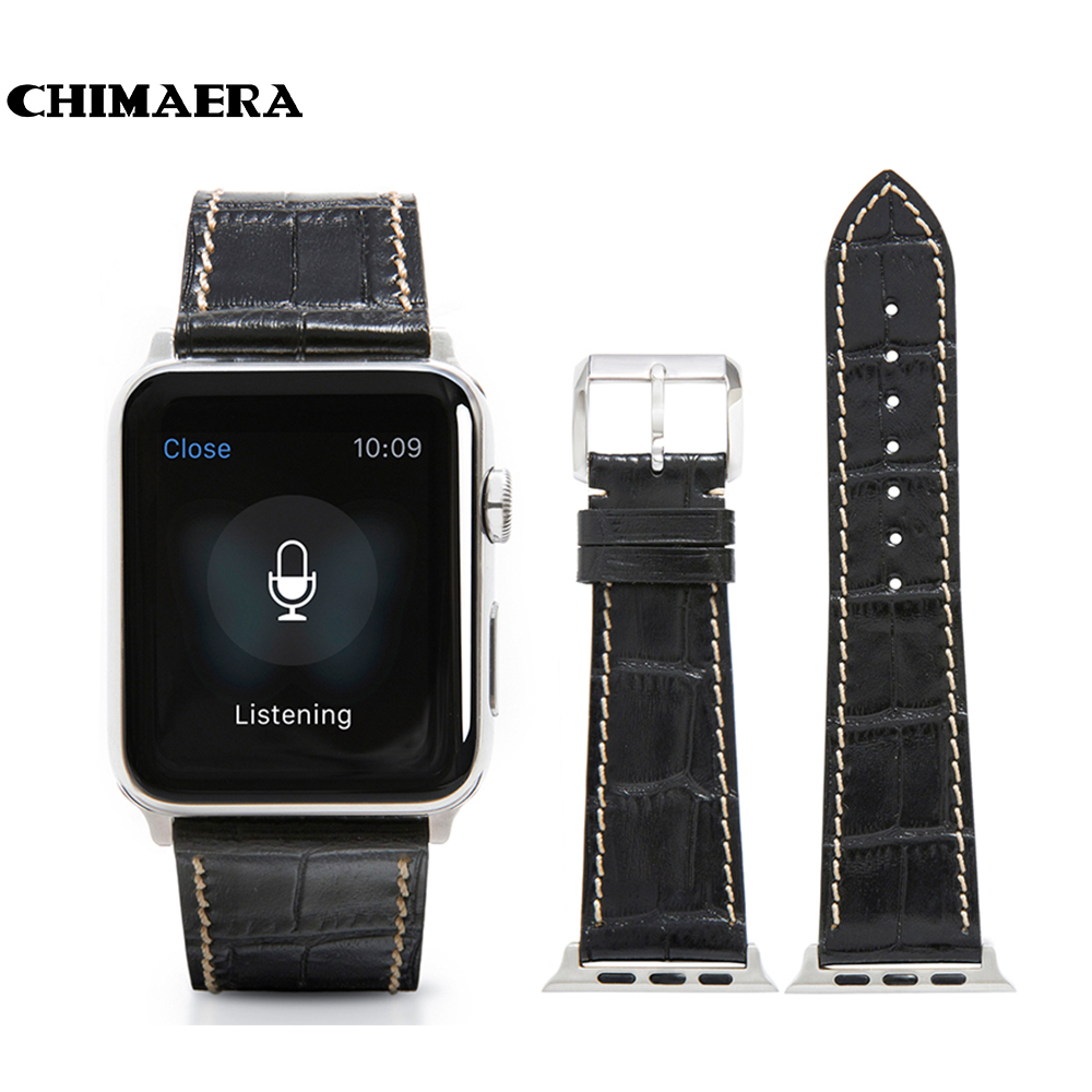 CHIMAERA 42mm Black Genuine Leather Watch band for Apple watch with Silver Spring bar adapter Link for Apple watch strap 42mm<br>