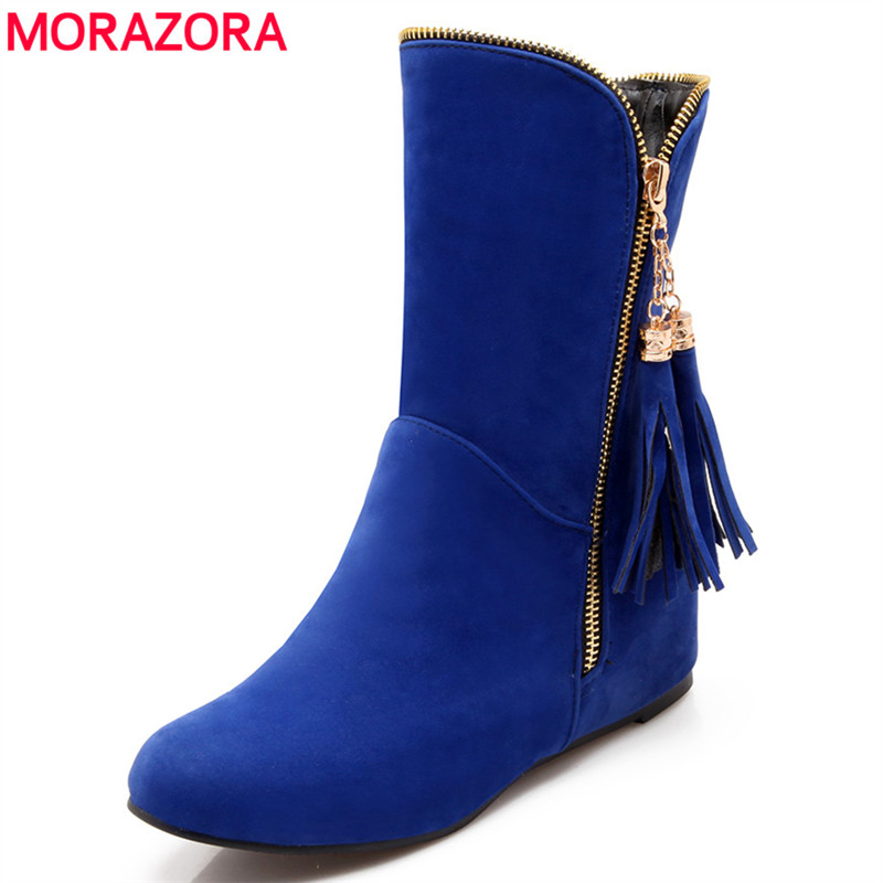 MORAZORA Plus size 34-47 women boots 2017 new fashion tassel ankle boots height increasing women shoes flock autumn female shoes<br>