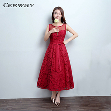 CEEWHY Burgundy Sleeveless A-Line Wedding Party Dress Lace Formal Gowns Tea-Length Evening Dress Lace Prom Dress Evening Gown