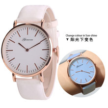CHAXIGO 2017 New Top Selling Temperature Color Changing Watch Strap Quartz women wristwatches men leather wacthes colorful band