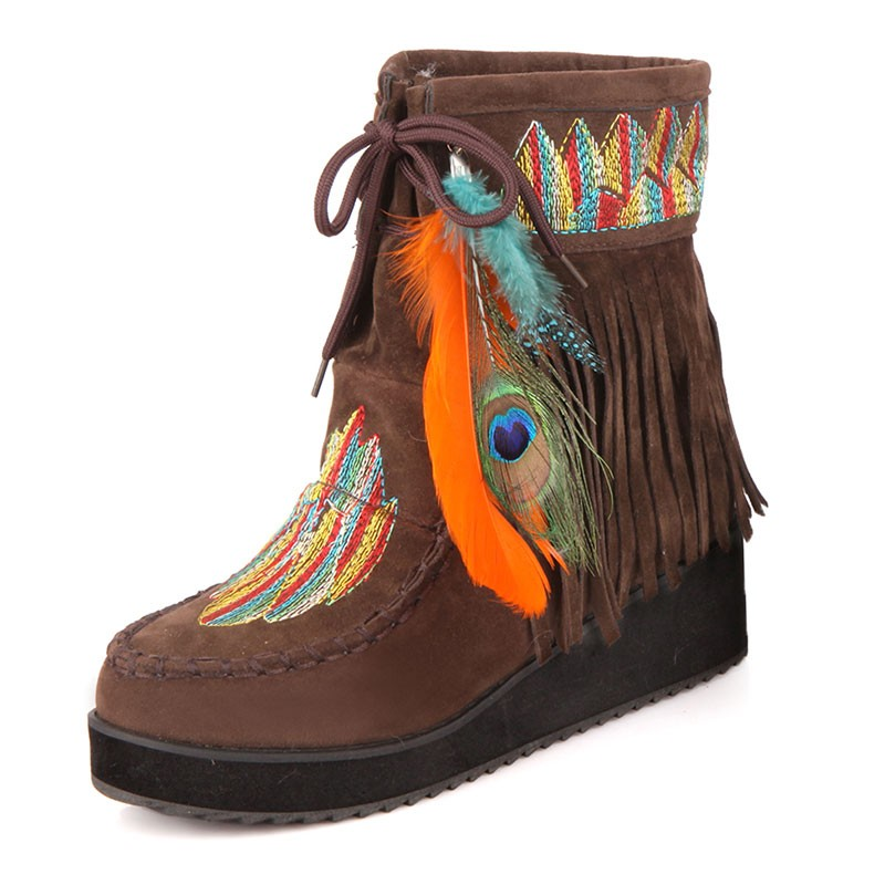 Indian Style Retro Fringe Boots Flock Chunky Feather Women winter warm Akle Short Boots Tassels Big Size Shoes EUR 35-43<br>