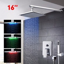 Bathroom LED Shower Faucets Handshower Solid Brass Chrome Finish 16 inch Ceiling Mounted Bathroom Shower Set