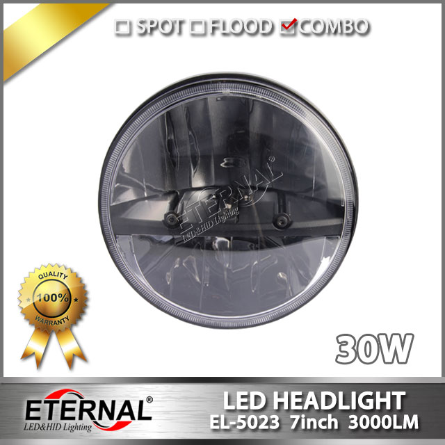 4pcs 30W Front Light Round Headlights 7 inch Headlamp Offroad 7 LED Head Driving Light for TJ automotive headlight replacement<br>