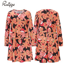 Ruiyige 2017 Autumn Women Cute Printed Long Sleeve O-Neck Basic Tunic Pleated Xmas Mini Dresses Short Vestido Christmas Wear