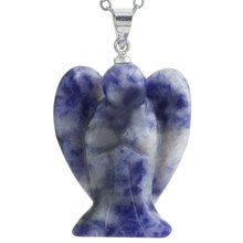 New Blue Carved Guardian Angel Crystal Healing Reiki Gem Stone Pendant Fit Necklace Women Health Jewelry Gift Without Chain(China)