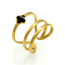Vintage Gold Color Anel Black Enamel Lucky Clover Rings 316L Stainless Steel Finger Rings For Women Wholesale Jewelry anillos(China)