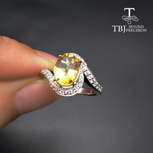 TBJ,Natural Brazil Citrine oval cut 7*9 2 ct gemstone solid ring in 925 sterling silver gemstone jewelry for lady with gift box