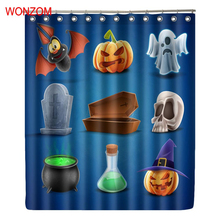 WONZOM Polyester Halloween Shower Curtains With 12 Hooks For Bathroom Decor  Modern Bath Waterproof Curtain Bathroom