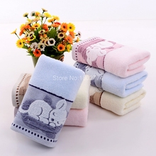 Terry Towel Cute Sleeping Cat Towel Cotton Bath Hand Face Towels Toalha De Banho Three Colors 74*34cm SMMJ(China)