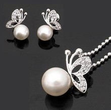 Fashion imitation pearl jewelry set, Fashion jewellery settings, Pendant&earrings(twinset),Free necklace Vintage Jewelry CLOVER