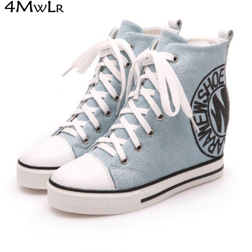 letters print lace up increasing wedge high heel platform high top canvas denim short ankle booties snickers casual shoes FN1360<br><br>Aliexpress