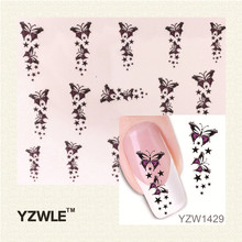 YZWLE Trendy Colorful Butterfly Star Nail Tips Water Transfer Nail Stickers, Watermark Nail Decals Manicure Tools