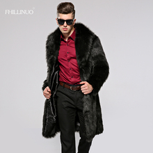 FHILLINUO 2017 Plus Size 3XL Male Long Faux Fur Coats Men Fashion Autumn Winter Fake Mink Fur Coat Long Trench jacket for men