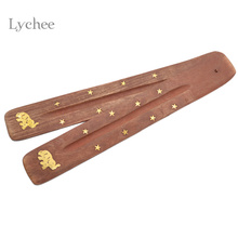 Lychee 1pc Wooden Incense Stick Holder Ash Catcher Burner Stand Furniture Protection Incense Base Aromatherapy Plate Random(China)
