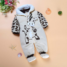 DLY229 2017 Winter Baby Romper Boy in Girl Coats Parks Suit Next Baby Clothes Baby Slippers Baby Clothes Dowry Down Overalls Set