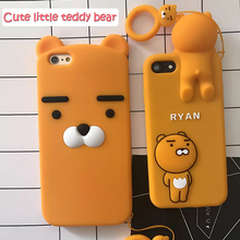 For iphone X 5s case For iphone7 Cartoon Ryan Lion bear back cover cases for iphone 7 7plus 6 6S plus cute soft Silicone Ring(China)
