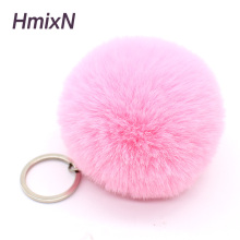 Big cute Fluffy faux bunny rabbit Fur PomPom Keychain handBag Plush Car key chain Pendant pom pom Pendant trinket for women bag(China)