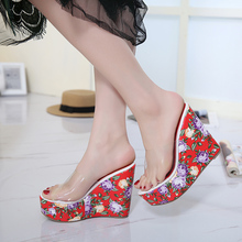 Summer women slippers shoes platform sandals Pumps Transparent glass glue platform slippers Flowers Bohemia Wedge beach shoes