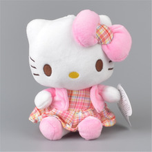 Plaid Skirt Hello Kitty Stuffed Plush Toy,  Baby Kids KT Doll Gift Free Shipping