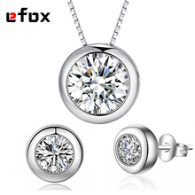 High Quality 1 Carat Dazzling CZ Diamonds Round Design Wedding Jewelry Set Necklace Pendant / Earrings