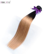 T1B/27 Honey Blonde Bundles Ombre Brazilian Hair Weave Bundles Straight Human Hair Weave Shining Star Non Remy Hair Extensions(China)