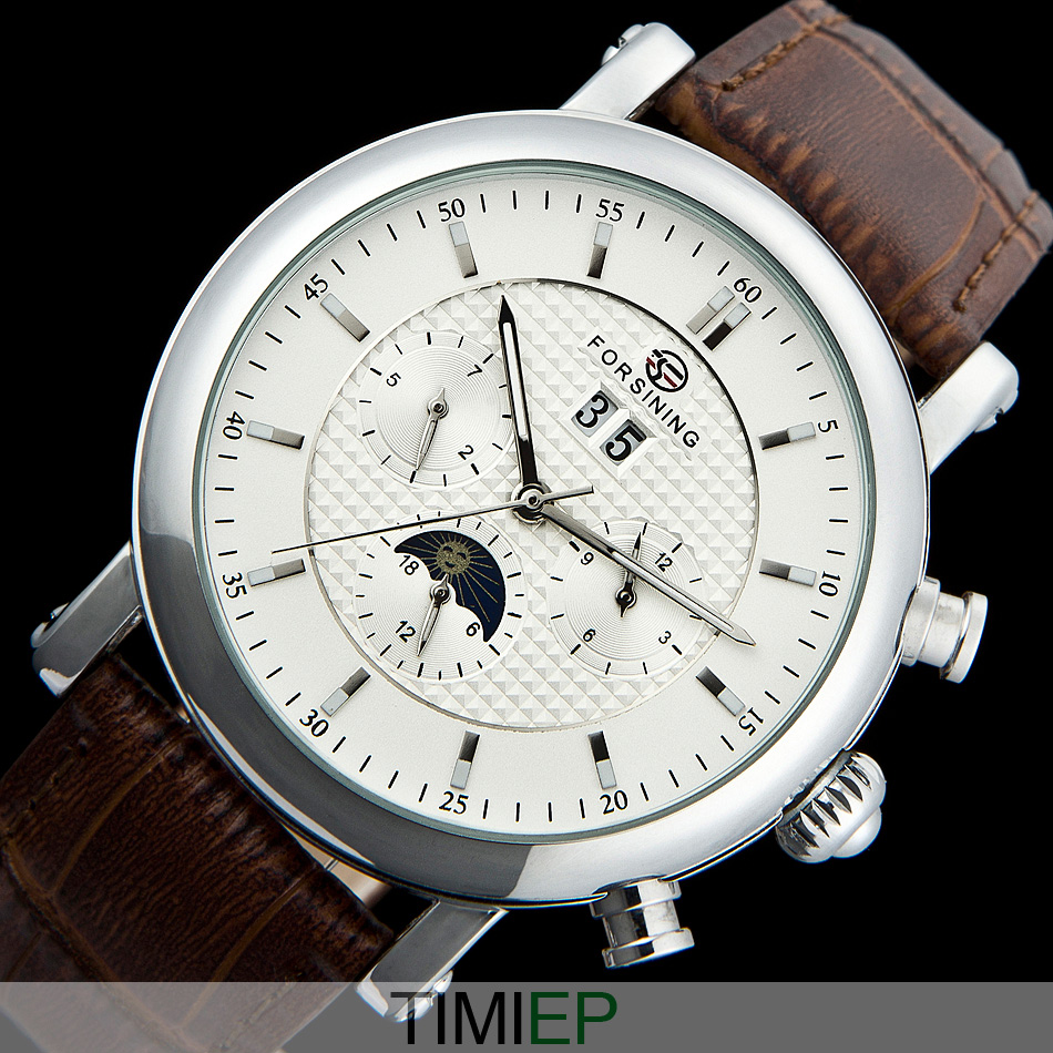 Deluxe quality automatic Tourbillon moon phase Leather Mens Watch  WHITE C1196<br>