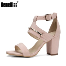 KemeKiss Size 32-42 Ladies High Heel Sandals Metal Ankel Strap Thick Heels Sandal Sexy Club Party Summer Shoes Women Footwears