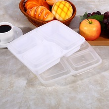 10Pcs Meal Prep Container w/ Lip Food Storage Disposable Microwave Safe 3 Compartment