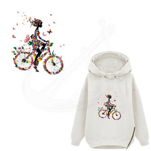 Heat Transfer Butterfly bikes 25*21cm Iron On Patche DIY T-shirt Sweater Patch for clothing