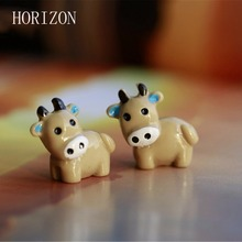 New Arrival 2PC Cow Animals Fairy Garden Miniatures Mini Gnomes Moss Terrariums Resin Crafts Figurines For Garden Decoration(China)