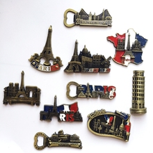 3D Metal Romantic Eiffel Tower Fridge Magnet Model Building Stickers French Paris Refrigerator Sticker Home Decorative Magnets