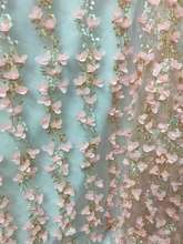 5yards/piece Amazing pink 3d Flower Nigerian Lace Fabric 2017 Tulle French Lace Fabric Latest Net Tulle Lace For Wedding   pp01